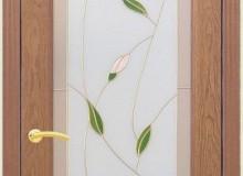 Двери межкомнатные Мебельмассив Алтея одностворчатая дверь Алтея О витраж пленочный (светлый дуб)