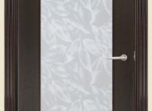 Двери межкомнатные Мебельмассив Альба одностворчатая дверь Альба1 матовый триплекс с художественной вставкой (темный дуб)
